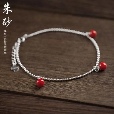 S925纯银手链女朱砂红豆手工定制旺姻缘招桃花 送闺蜜?