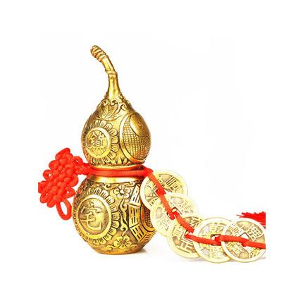 纯铜葫芦五帝钱真品开光招财镇宅挂件