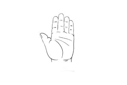 手掌手指略扁
