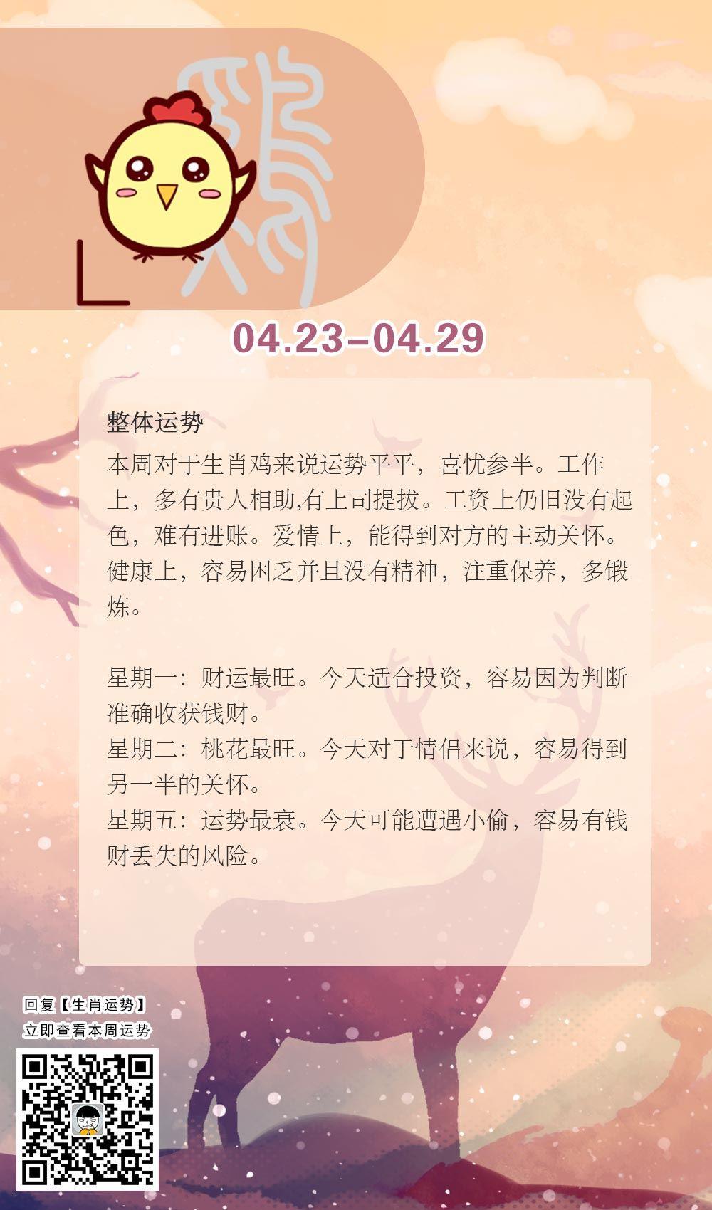 生肖鸡本周运势【2018.04.23-04.29】