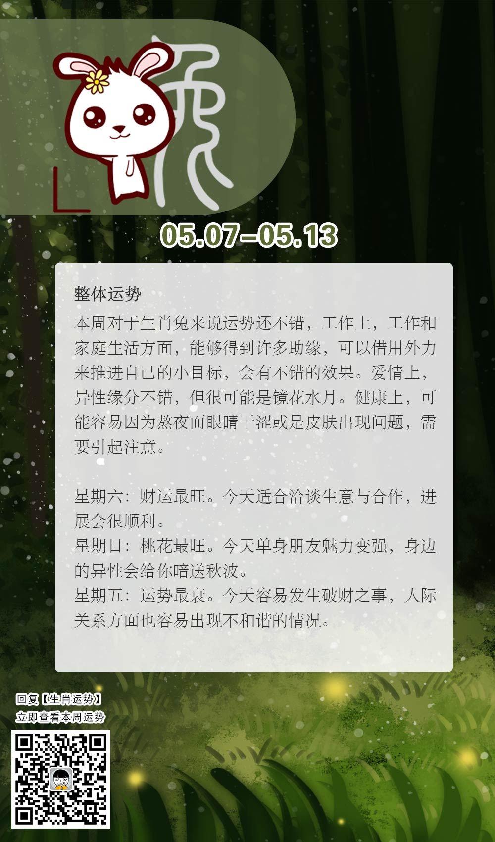 生肖兔本周运势【2018.05.07-05.13】