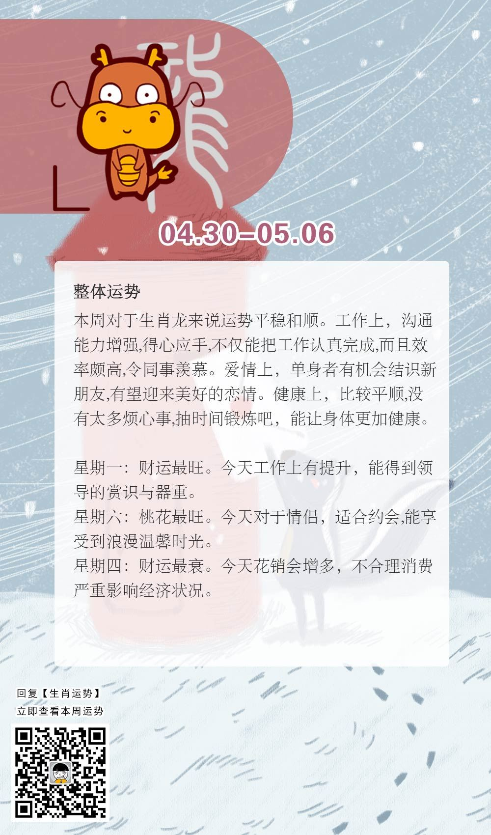 生肖龙本周运势【2018.04.30-05.06】
