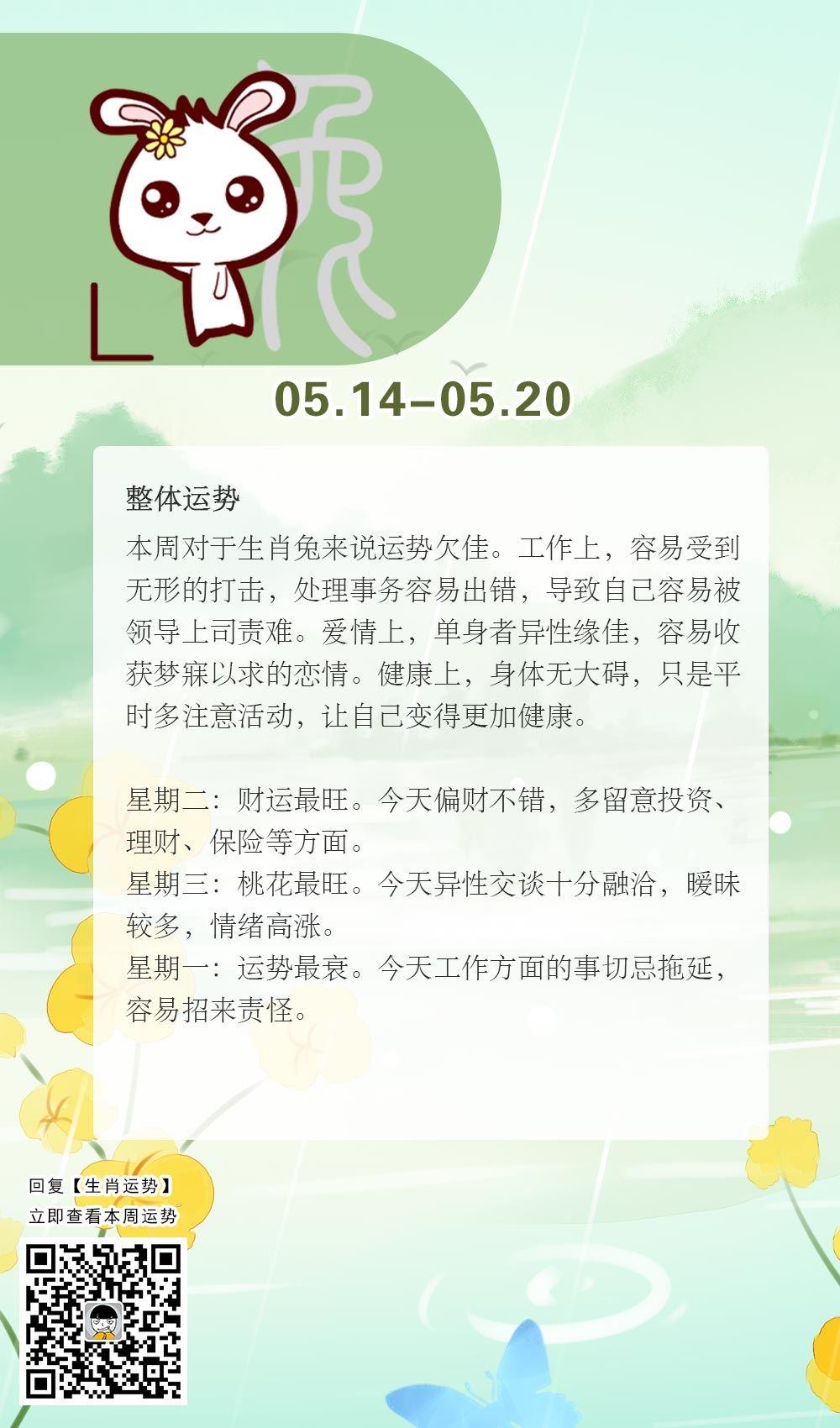 生肖兔本周运势【2018.05.14-05.20】