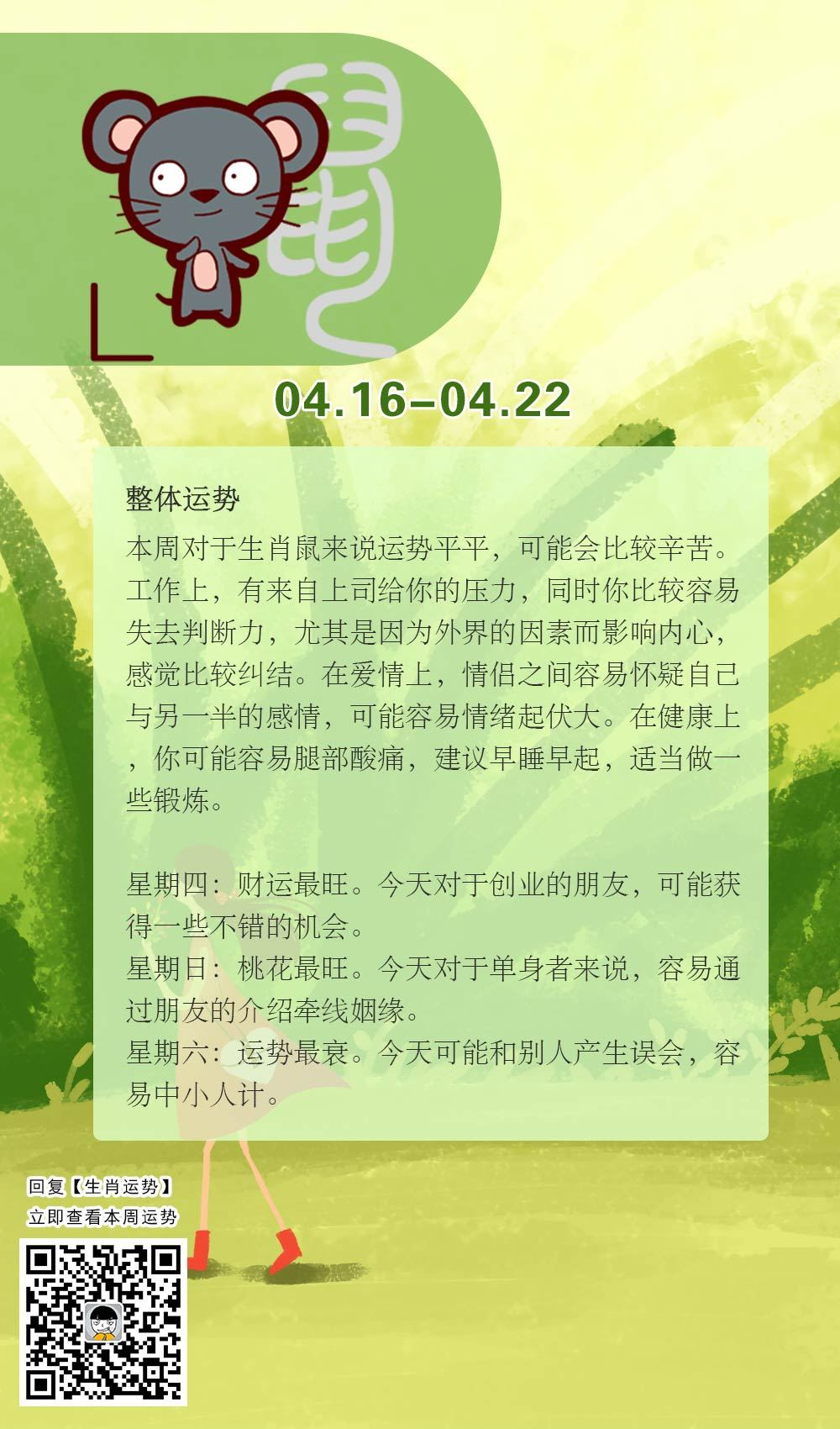 生肖鼠本周运势【2018.04.16-04.22】