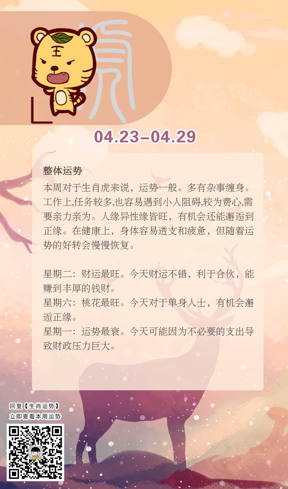 生肖虎本周运势【2018.04.23-04.29】