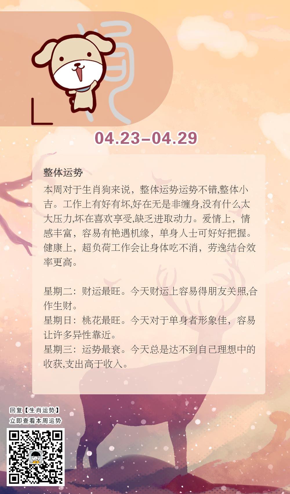 生肖狗本周运势【2018.04.23-04.29】