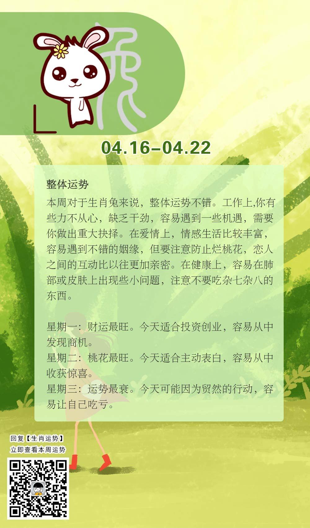 生肖兔本周运势【2018.04.16-04.22】