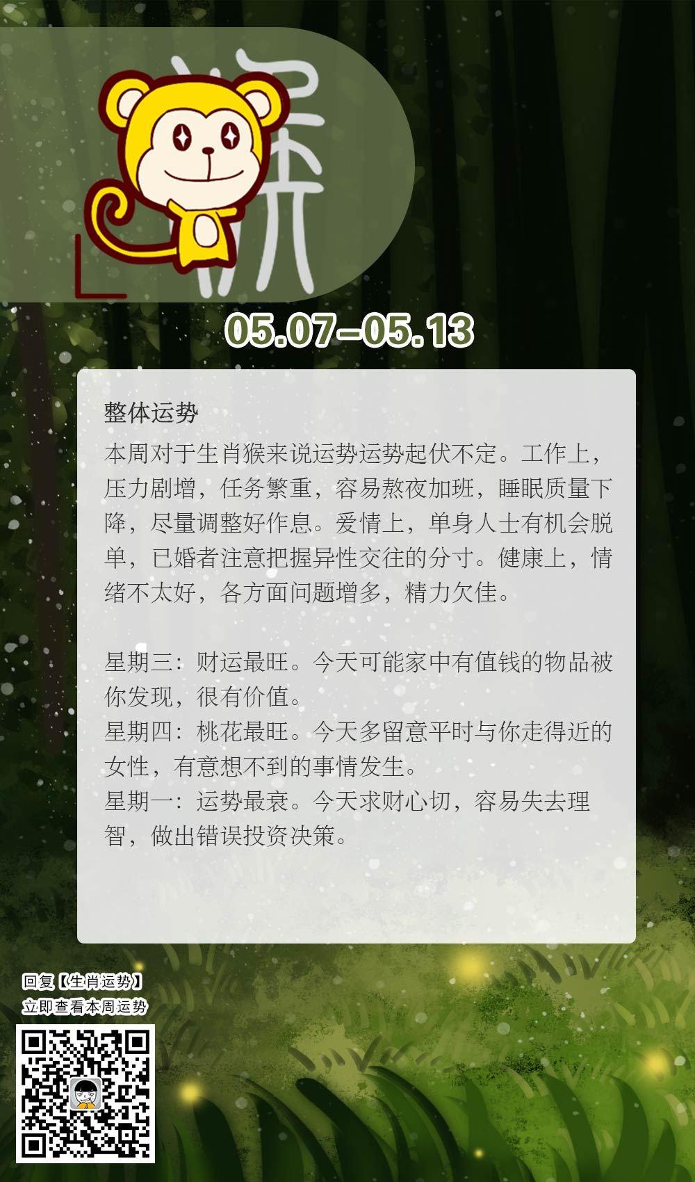 生肖猴本周运势【2018.05.07-05.13】