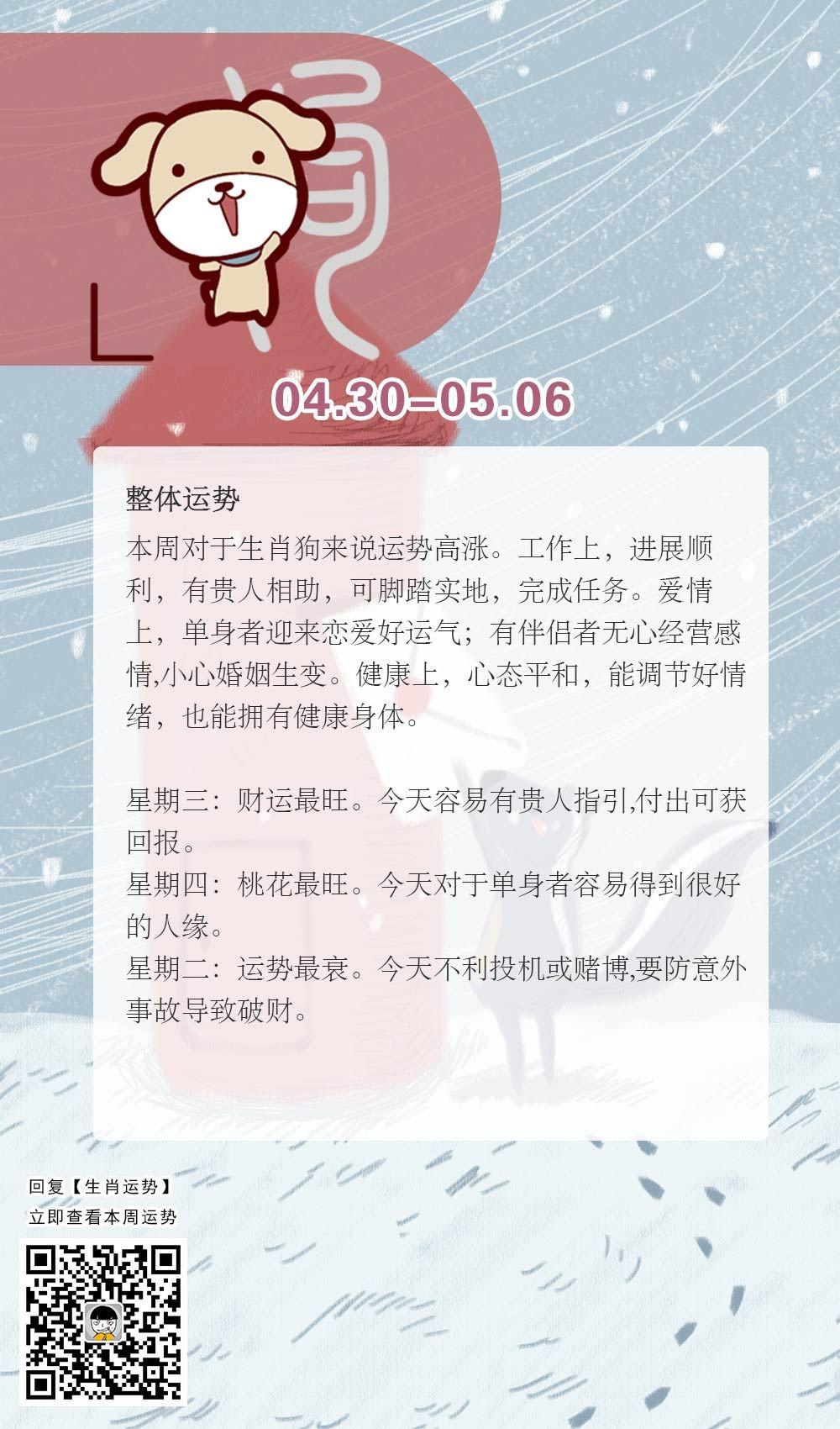 生肖狗本周运势【2018.04.30-05.06】