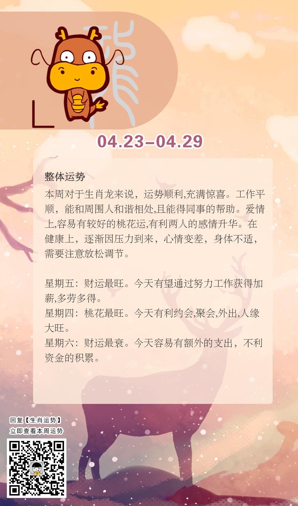 生肖龙本周运势【2018.04.23-04.29】