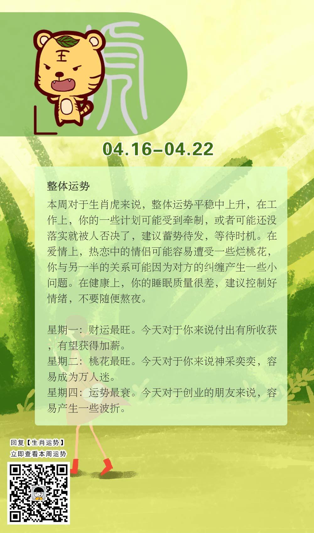 生肖虎本周运势【2018.04.16-04.22】