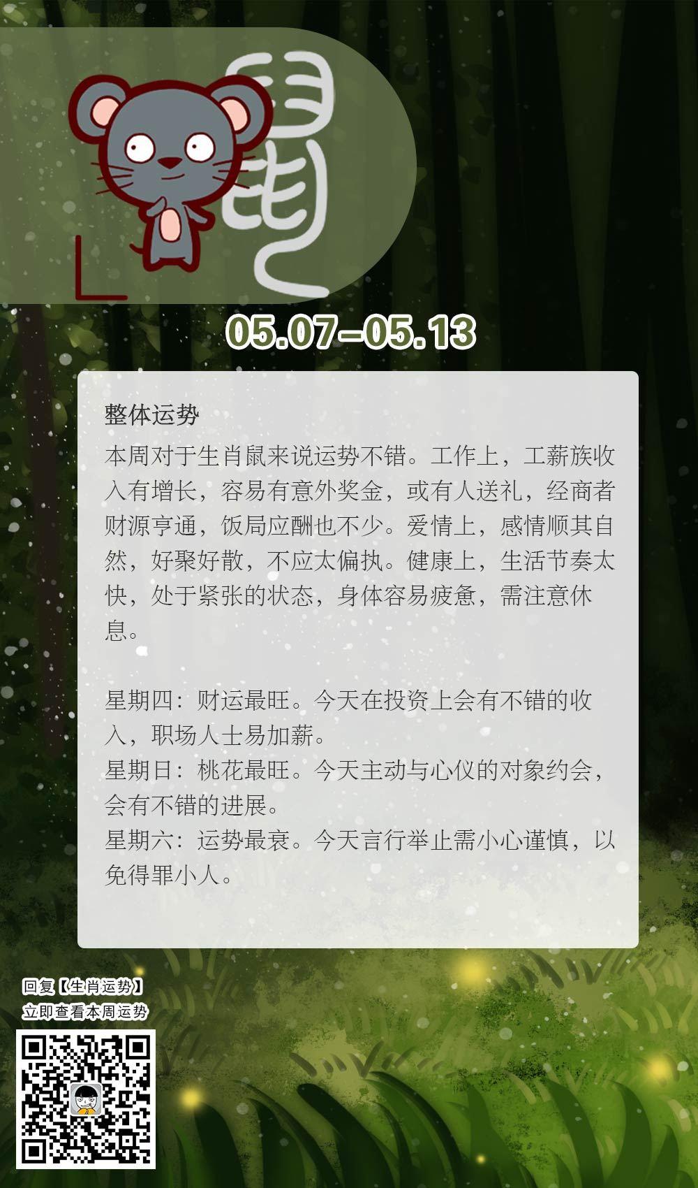 生肖鼠本周运势【2018.05.07-05.13】