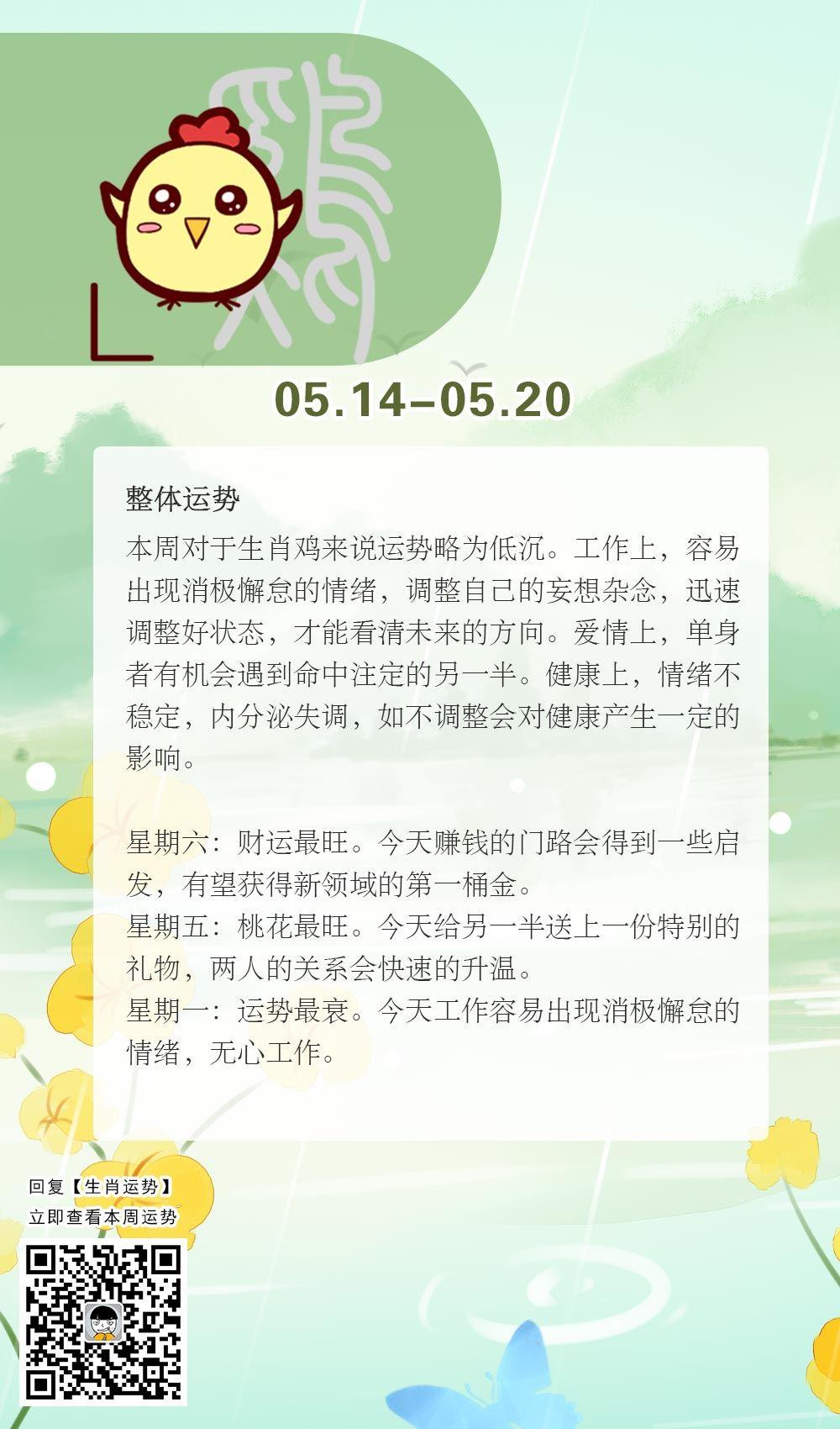 生肖鸡本周运势【2018.05.14-05.20】
