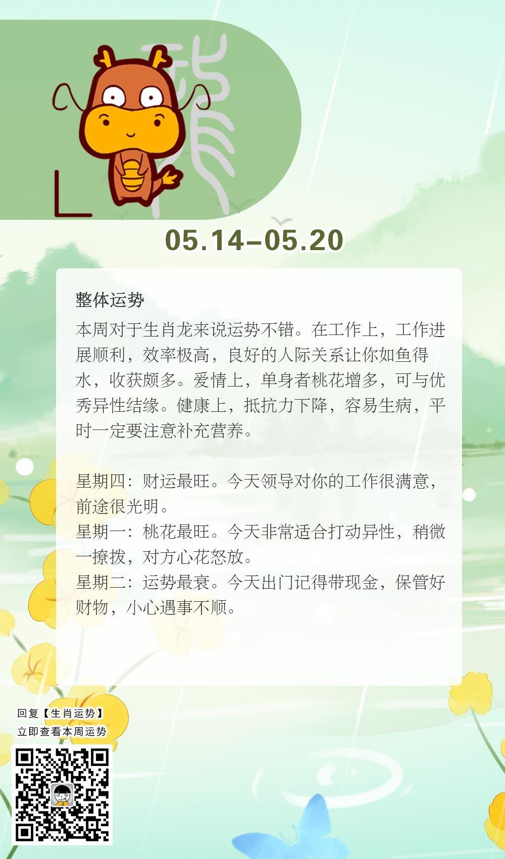 生肖龙本周运势【2018.05.14-05.20】