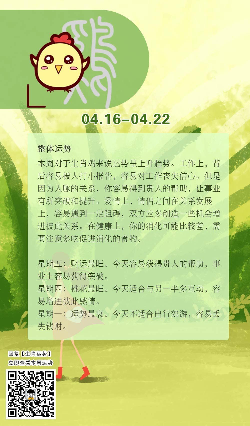 生肖鸡本周运势【2018.04.16-04.22】