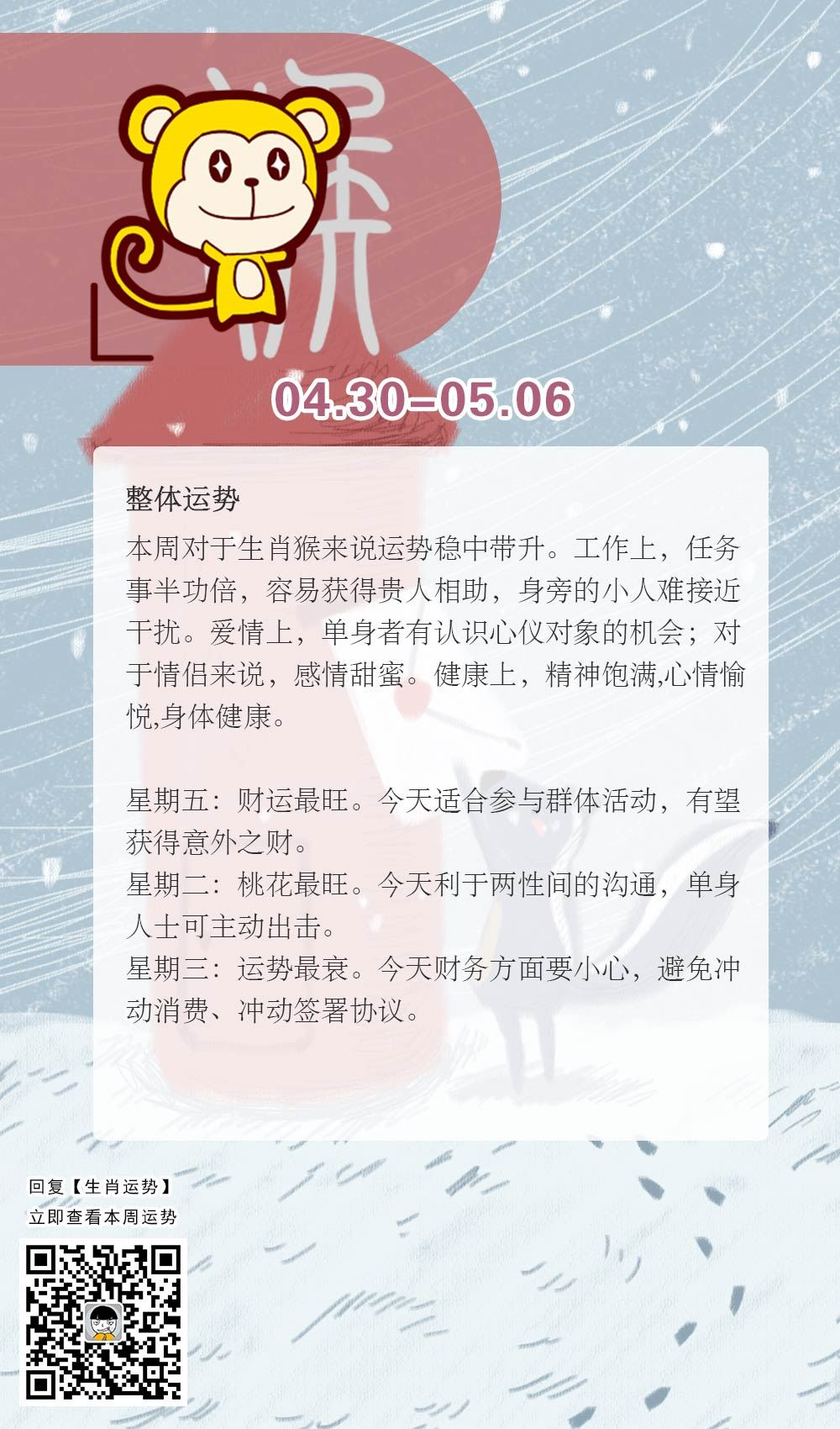 生肖猴本周运势【2018.04.30-05.06】