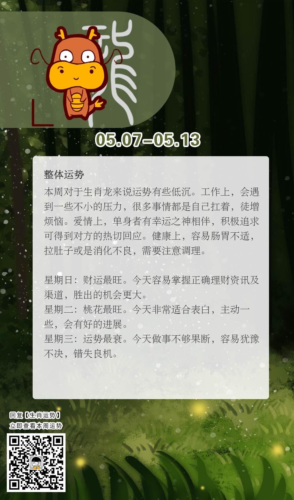 生肖龙本周运势【2018.05.07-05.13】