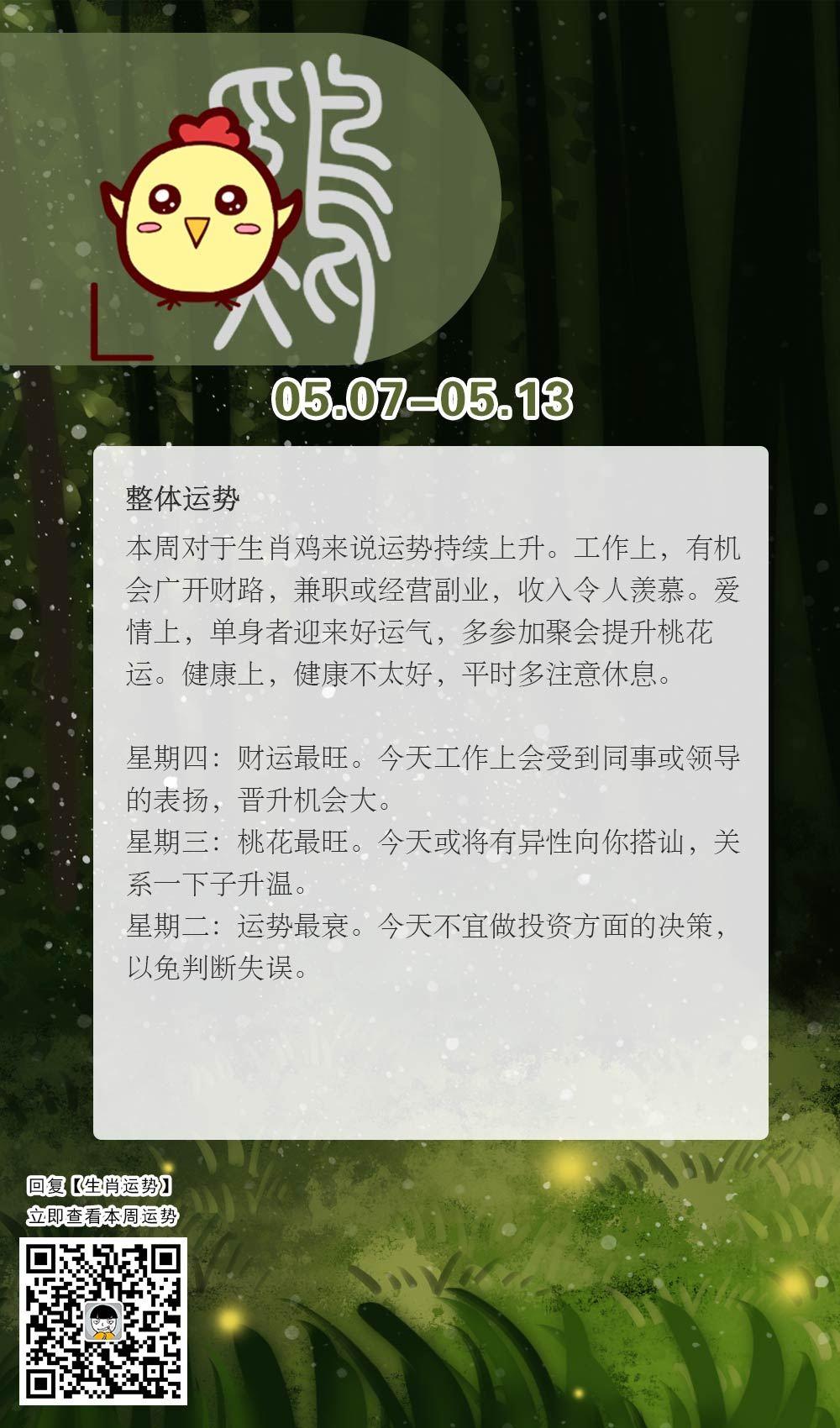 生肖鸡本周运势【2018.05.07-05.13】