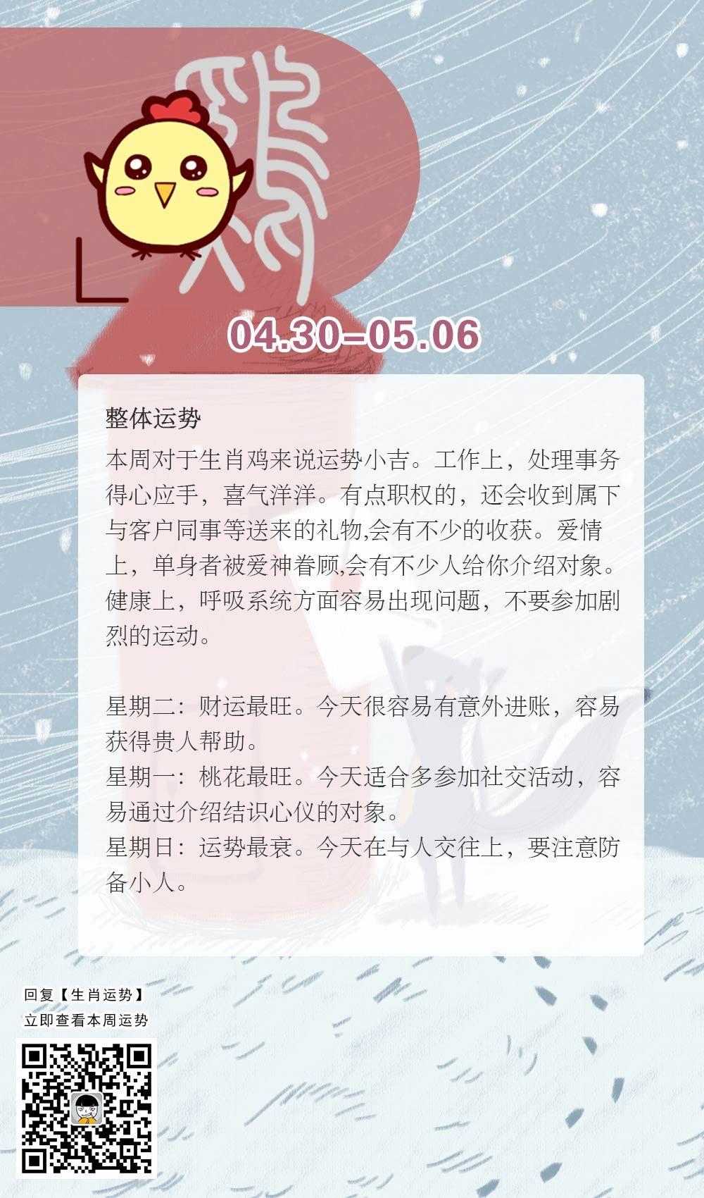 生肖鸡本周运势【2018.04.30-05.06】