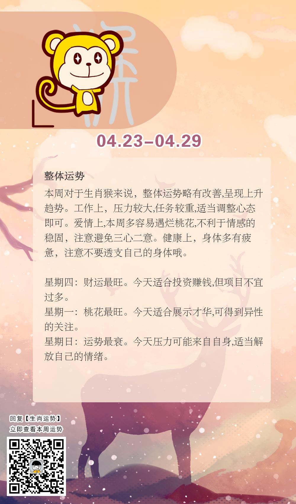 生肖猴本周运势【2018.04.23-04.29】