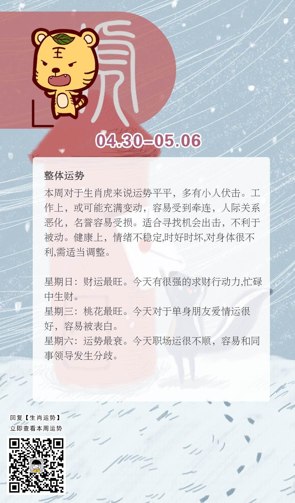 生肖虎本周运势【2018.04.30-05.06】