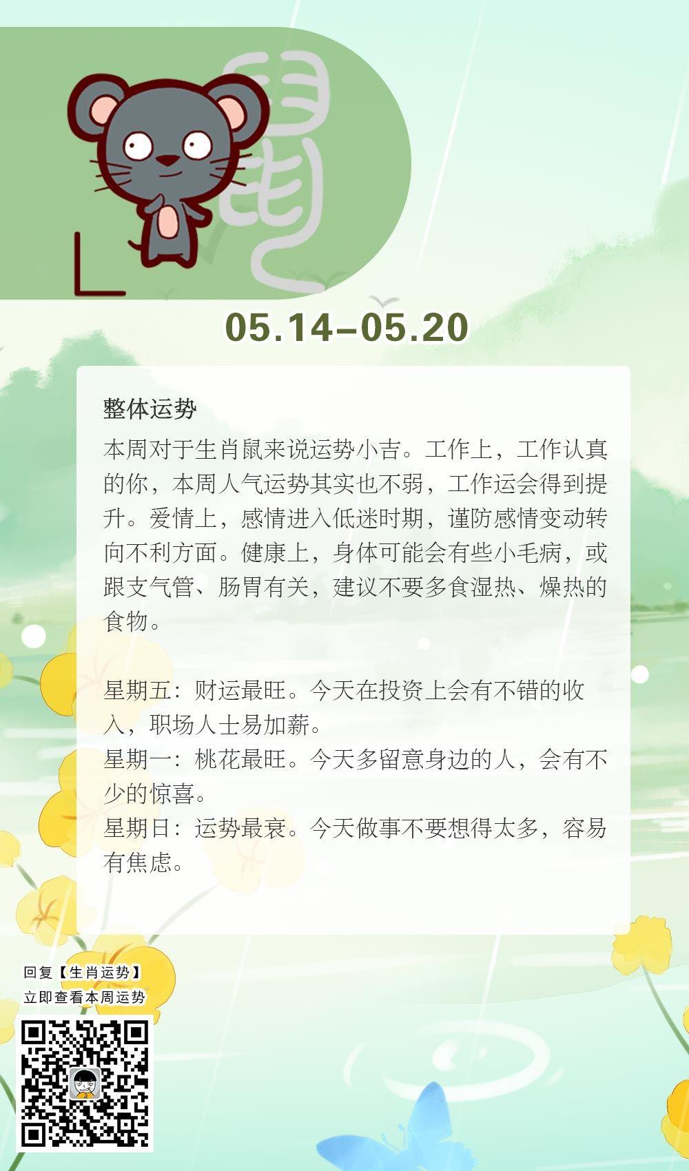 生肖鼠本周运势【2018.05.14-05.20】
